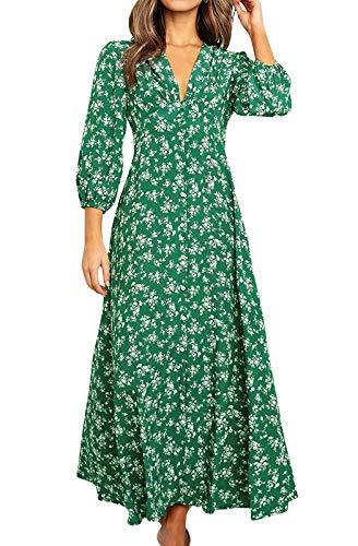 Eledobby Vestido Botones de Flores Mujer Bohemio Mangas 3/4 Cuello en V Profundo Vestir Camisero Largo Elegante A Línea Ropa Casual para Fiesta Playa Verde L