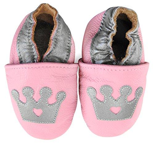 axy Chaussons en cuir pour bébé - Pour apprendre à marcher, pour la maternelle - Rose - rose bonbon, 18-24 Monate