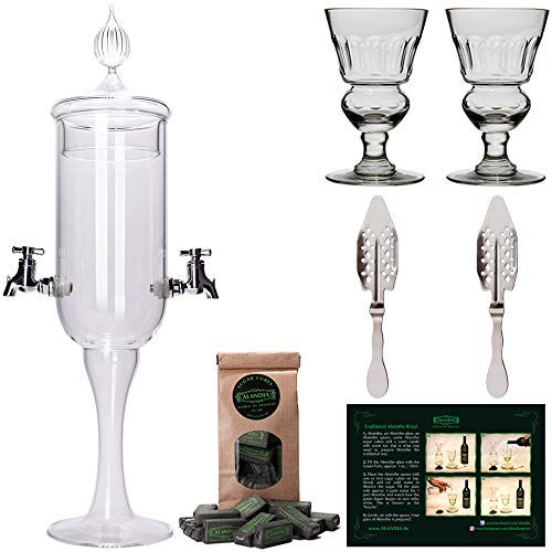Absinthe Fountain Set Petite | 1x Absinthe Fountain | 2x Absinthe Glasses | 2x Absinthe Spoons | 1x Absinthe Sugar Cubes | Drink Absinthe the traditional way!