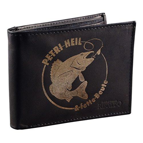 Herren Brieftasche Geldbörse Angler Petri Heil aus Rindsleder mit Gravur