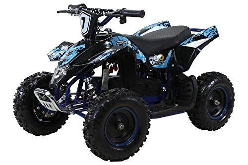 Actionbikes Motors Kinder Elektro Miniquad Fox XTR 1000 Watt 48 Volt - Gelochte Scheibenbremsen - 3 Geschwindigkeiten (Schwarz Blau)