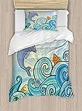 Ambesonne Sea Animals Duvet Cover Set, Cartoon Dolphin Fish Starfish Shells in Ocean Marine in Summer Pattern Print, Decorative 2 Piece Bedding Set with 1 Pillow Sham, Twin Size, Pastel Blue