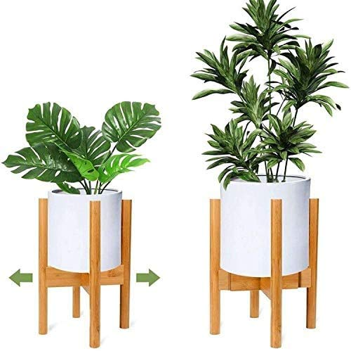 LEFOR·Z Verstellbarer Pflanzenständer,Holz-Blumentopf-Ständer Topfgestell für Innen- und Außenbereiche, bis zu 12 Zoll Pflanzgefäß,Inneneinrichtung im Mid Century Stil, natürlich(1 Packung)