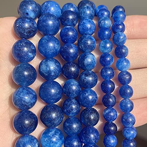SAIYI Tallas de Piedra Azules Naturales de Kyanite Redondo Perlas espaciadoras Sueltas para la fabricación de Joyas de Bricolaje Accesorios de Pulsera 15 '' 6 8 10mm (Color : 6mm 61pcs)