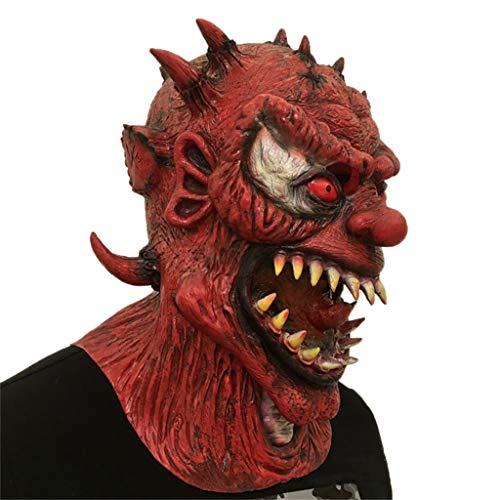 Moolo Maschere per Adulti Maschera di Testa di Lattice di Halloween, Demone di Orrore Mostro Diavolo Masquerade Costume di Raccapricciante Fantasma di Zombie sanguinante (Colore : A)