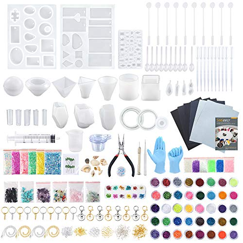 Sntieecr 460 Pieces Epoxy Resin Silicone Casting Molds Full Kits with 26 PCS Silicone Resin Molds, Sandpapers, Glitter Powder, Dry Flowers, Keychains and Tools Set for Resin Jewelry and Craft