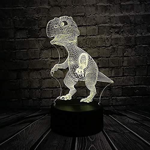 Presentatie van dia's in 3D dinosaurus, schattige 3D-illusie-lamp, nachtlampje, decoratie van de slaapkamer, 7 kleurverandering, E – basis van de wekker 7 kleuren/D – afstandsbediening 7