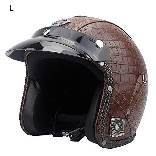 gaeruite Cuoio del Motociclo del Casco del PU dell'Annata, Harley Helmets, Casco Moto Chopper 3/4 Unisex