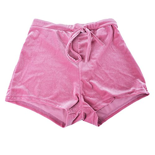 Shujin Damen Sommer Samt Shorts Stretch High Waist Beiläufig Velvet Kurz Hose mit Kordel Strand Shorts Hot Pants