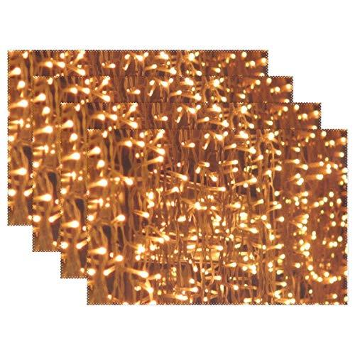 Promini Hitzebeständige Tischsets, Lampen Lampen Beleuchtung Lichterkette Light Hell waschbar Polyester Tischmatten rutschfest waschbar Platzsets für Küche Esszimmer 4 Stück