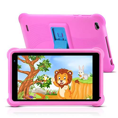 qunyiCO Tablet da 7 pollici per bambini 32GB Android 10.0 GO WiFi fotocamera 2GB RAM HD Touch Screen 1024 * 600 custodia a prova di bambino App per il controllo parentale su Google Certified Rosa