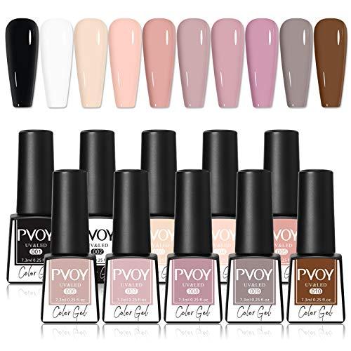 PVOY Set di smalti per unghie in gel nudo, colori classici smalto per unghie in gel nero bianco grigio, 10 colori Soak Off Kit per unghie in gel UV LED -7,3 ml