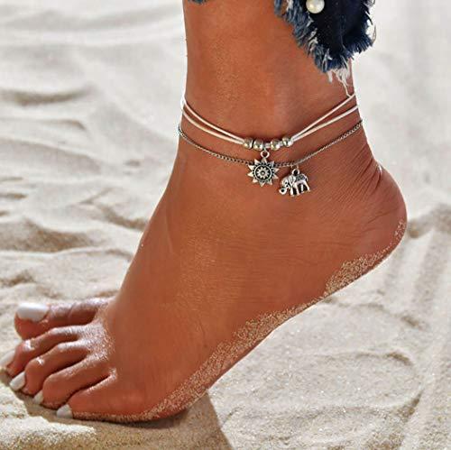 Ushiny Boho-Fußkettchen mit Sonne, Strand, Elefant, Fußkettchen mit Silber-Perlen, Fußschmuck für Damen und Mädchen