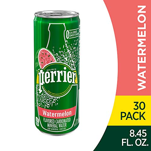 Perrier Watermelon Flavored Carbonated Mineral Water, 8.45 fl oz. Slim Cans (30 Count)