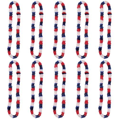 ABOOFAN 10 Collares Patrióticos Rojo Blanco Y Azul Guirnalda para El 4 de Julio O El Día de Los Caídos