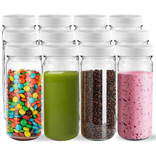SUXNOS Vorratsdosen 12er Set Reiseglas Trinkflasche Glasflasche 500ml mit Schraubdeckel Deckel Aufbewahrung Küche Tee Gewürzgläser Entsaften, Milchflaschen, hausgemachte Getränkeflasche