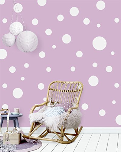 Polka Dot Wall Decals (63) Girls Room Wall Decor Stickers, Wall Dots, Vinyl Circle Peel & Stick DIY Bedroom, Playroom, Kids Room, Baby Nursery Toddler to Teen Bedroom Decoration 3'-6.5'(White)