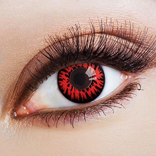 aricona Kontaktlinsen – deckend rote Kontaktlinsen mit Horror Halloween Muster – farbige Kontaktlinsen ohne Stärke