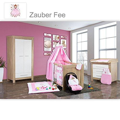 Babyzimmer Enni 21-tlg. in der Farbe Sonoma/Weiß 21-tlg. mit 2 türigem Kl. + Textilien Zauber Fee, Rosa