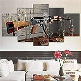 lcyab Impresiones sobre Lienzo Interior Enmarcado De Una Pistola Ak-47 Anatomía 5 Piezas Lienzo Arte De La Pared Decoración para El Hogar