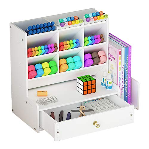 Organizer da scrivania con cassetto, bianco, grande capacità, montaggio fai-da-te, scomparti per penne e articoli di cancelleria, per ufficio, scuola e casa