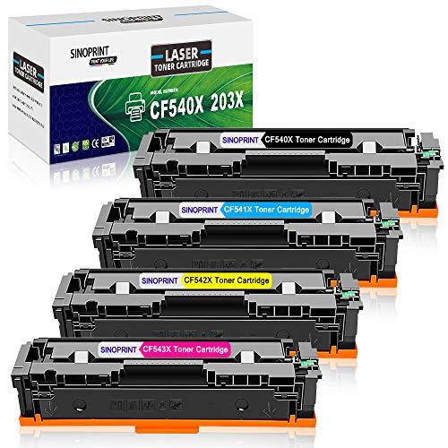 SINOPRINT Kompatible Tonerkartusche für HP 203X CF540X HP203X CF540A HP203A für HP Color Laserjet Pro MFP M281fdw M281fdn M280nw M281cdw, Pro M254dn M254dw M254nw (4-Pack, Schwarz Cyan Gelb Magenta)