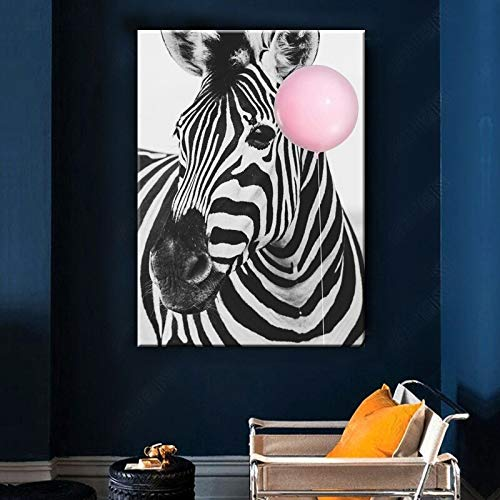 HGlSG Baby Animal Poster Zebra Ballon Canvas Schilderij Nursery Wall Art Nordic Picture Kinderkamer Decoratie Home Wall Decor Art A2 60x80cm