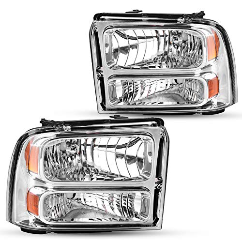 DWVO Headlights Assembly Compatible with 2005 2006 2007 Ford F250 F350 F450 F550 Super Duty/ 05 Ford Excursion (Chrome)