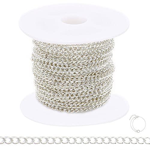JINXM 3x4mm Collar de Cadena de Cable Chapado Pies Cadena Plateada Cadena de Eslabones Metálicos para la fabricación de collares, pulseras y para manualidades