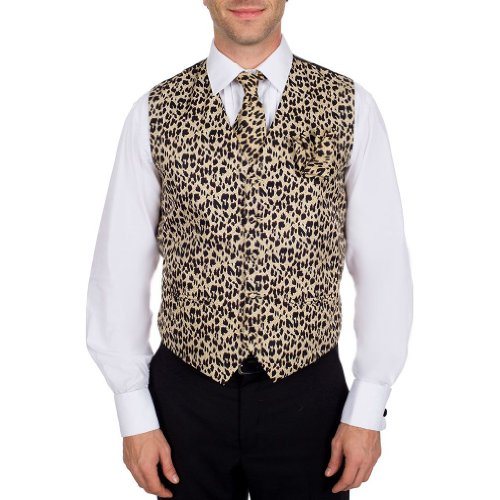 Men's Animal Printed Leopard Print Vest Neck Tie Ties and Hanky Set for Proms Weddings and Formal Events