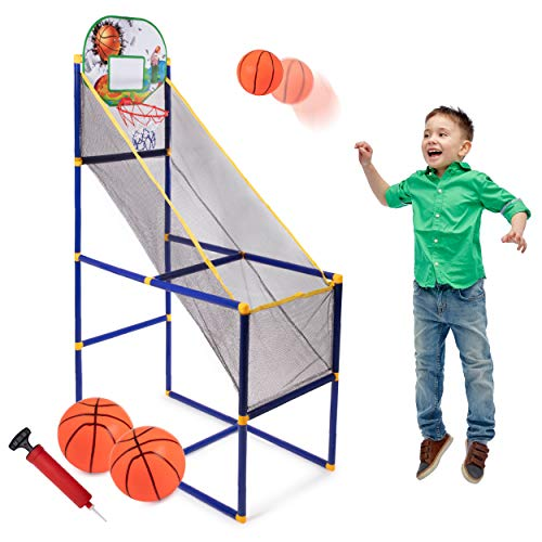 Basketball Arcade Game for Kids - Single Shot Indoor Shooting System with Mini Hoop, Ball and Pump for Kids - Great Gift for Boys (Basketball Arcade)