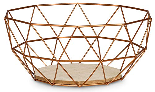 levandeo Korb Metall Kupfer 26x12cm Obstkorb Modern Holz MDF Braun Schüssel Schale Deko Design Tischdeko
