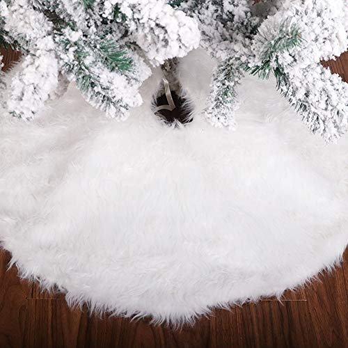 Christmas Tree Skirt, 48 inch Large Christmas Tree Skirt Whose Color Likes Snowy White, Faux Fur Tree Skirt For Christmas Tree Decoration, Vintage Christmas Tree Skirt