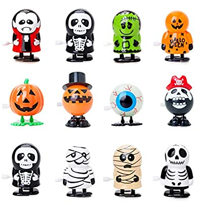 Bravo Sport 12 Pack Halloween Wind Up Toys, Assorted Novelty Jumping and Walking Clockwork Toys, Halloween Party Favors Gift Goody Bag Filler Stocking Stuffers and Fun Decoration by Bravo Sport