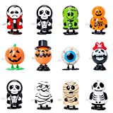 Bravo Sport 12 Pack Halloween Wind Up Toys, Assorted Novelty Jumping and Walking Clockwork Toys, Halloween Party Favors Gift Goody Bag Filler Stocking Stuffers and Fun Decoration