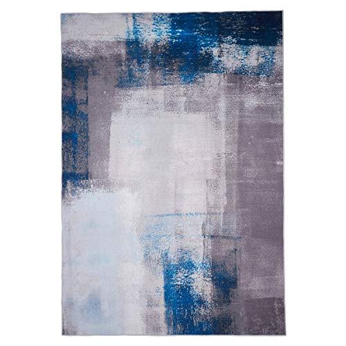 WEBTAPPETI.IT Tappeto Moderno Facile da Pulire - Tappeto Economico Moderno Manhattan Grey Blue cm.120x180