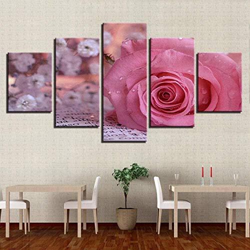 SXBB Lienzo Impreso En HD Póster Decoración del Hogar 5 Piezas Rosas...