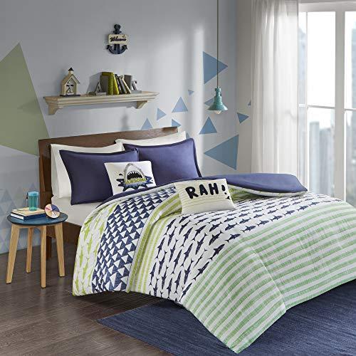 Urban Habitat Kids Finn Twin/Twin Xl Duvet Cover Set Kids Boy - Green, Navy , Shark Stripe – 4...