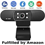 Webcam with Microphone, Web Camera Full HD 1080P, for PC Laptop Desktop Video Calling, Conferencing, Compatible with Windows 10, 8, 7, XP and Mac OS X