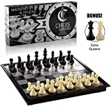 Chess Armory Magnetic Travel Chess Set Folding Board Game with Extra Queens and...