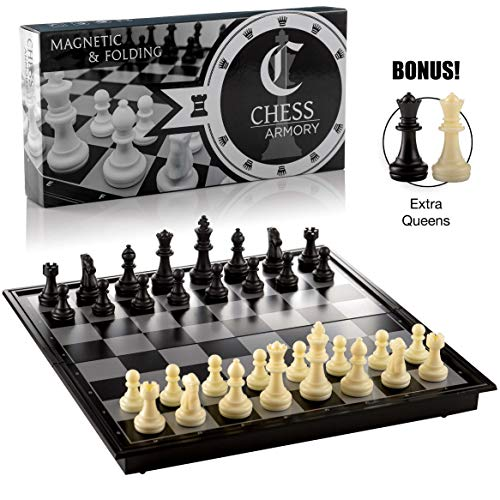 Chess Armory Magnetic Travel Chess Set Folding Board Game with Extra Queens and Storage for Pieces