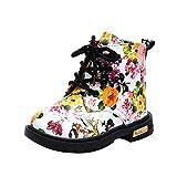 WEXCV Baby Mädchen Kinderschuh Herbst Winter Schneestiefel Prinzessin Schuhe Kurze Stiefel Blumendruck Freizeitschuhe Lauflernschuhe Trendige Outdoor Boots