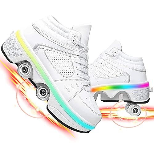 JSBVM LED de Colores Patines Zapatos Deportivos En Línea para Niños Zapatos De Patinaje sobre Ruedas Neumáticos Extraíbles Fuerte Seguridad Adecuados Unisexo
