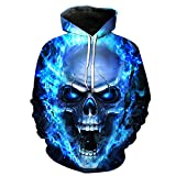 Volanic Unisex 3D Digital Printed Sweatshirts Skull Hoodie for Men Women