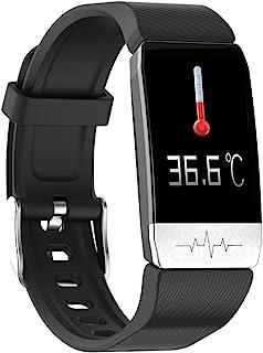 Dewanxin T1 Band Smartwatch Pulsera de Actividad Termómetro,Monitores de Actividad,Pantalla Pulsómetro Fitness Tracker,Mpermeable IP67 Reloj Inteligente,Mujer Hombre Podómetro,para Android y iOS