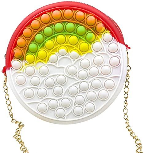Bolsa de hombro de juguete fidget con burbujas, bolsa de mensajero, bolsa de silicona sensorial simple, mochila para aliviar el estrés y la ansiedad, regalos para niñas y mujeres