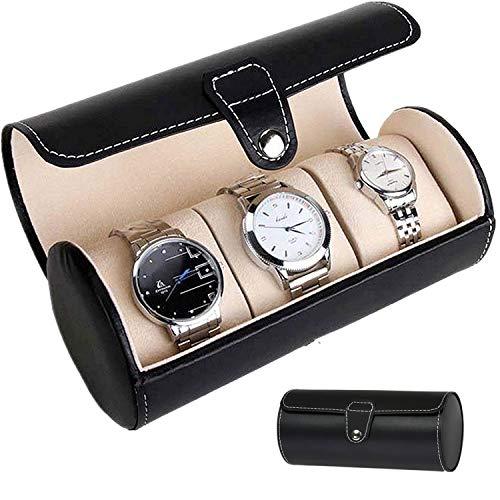 Asvert Porta Orologi da Viaggio 3 Griglie,Scatola per Orologio cilindrico,Porta Rotolo da...