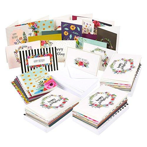 144UNIDADES varios Happy Birthday Tarjetas de felicitación–18diseños únicos, feliz cumpleaños, tarjetas de felicitación Bulk caja de variedad, con sobres incluidos–4x 6pulgadas
