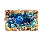 Vosarea 3D Unterwasserwelt Tierboden Wandaufkleber PVC Abnehmbare Kunstwanddekoration für Kinder Schlafzimmer Wohnzimmer Büro (90x60x0,1 cm)