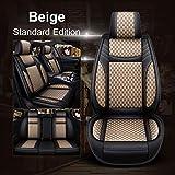 Hunulu Coprisedili per Auto in Pelle + Lino Set Completo di Protezioni per Cuscini Accessori per Audi A3 8P 8V Sportback 8L A4 A5 A6